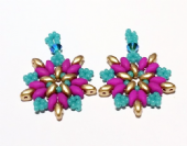 SuperDuo Star Earrings Bead Pack  - Pink, Turquoise & Gold